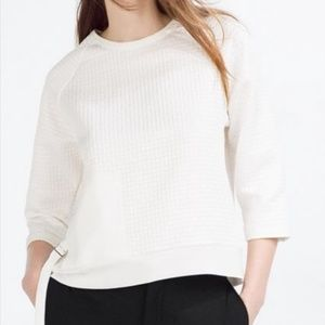 ZARA White Quilted Drop Sleeve Blouse - Belt